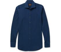 Cutaway-collar Garment-washed Cotton-twill Shirt