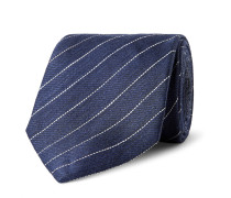 7.5cm Striped Linen And Mulberry Silk-blend Tie