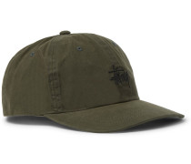 Embroidered Waxed-cotton Baseball Cap