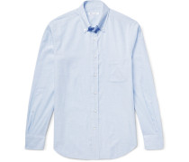 Alfred Button-down Collar Checked Brushed-cotton Shirt