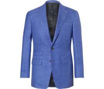 Blue Slim-fit Mélange Slub Wool, Silk And Linen-blend Suit Jacket