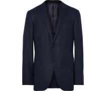 Blue Slim-fit Micro-checked Wool And Cashmere-blend Blazer