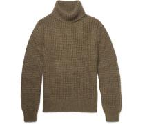 Waffle-knit Wool-blend Rollneck Sweater