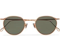 Round-Frame Rose Gold-Tone Sunglasses