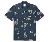 Brandon Camp-Collar Printed Organic Cotton-Poplin Shirt