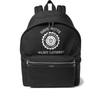 City Leather-trimmed Printed Canvas Backpack
