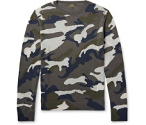 Camouflage-intarsia Cashmere-blend Sweater