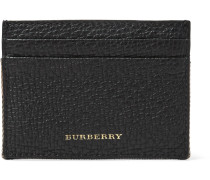 Full-grain Leather And Checked Cotton-twill Cardholder