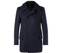 Leather-trimmed Felted Wool-blend Peacoat