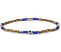 Glass Bead, Gold-tone And Stone Bracelet