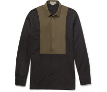 Slim-fit Shell-panelled Cotton-poplin Shirt
