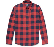 Slim-fit Buffalo-checked Cotton-flannel Shirt