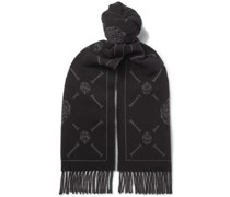 Logo-Intarsia Fringed Wool and Cashmere-Blend Scarf