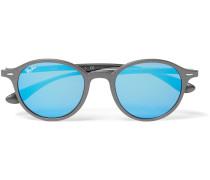 Round-frame Matte Silver-tone Mirrored Sunglasses
