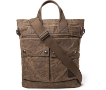 Leather-trimmed Distressed Waxed Cotton-canvas Tote Bag