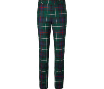 Runway Slim-fit Checked Wool-twill Trousers