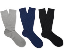 Three-pack Laburnum Ribbed Merino Wool-blend Socks