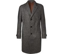 Nubuck-trimmed Puppytooth Alpaca-blend Overcoat
