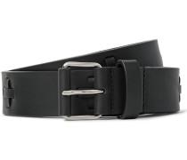 3cm Black Embellished Leather Belt