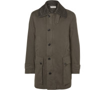 Quilted-collar Cotton-twill Coat