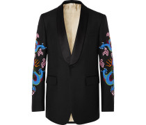 Black Embroidered Satin-Trimmed Wool and Mohair-Blend Tuxedo Jacket