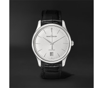 Master Ultra Thin Date Automatic 39mm Stainless Steel and Alligator Watch, Ref. No. 1238420