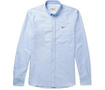 Slim-Fit Button-Down Collar Logo-Appliquéd Cotton Oxford Shirt