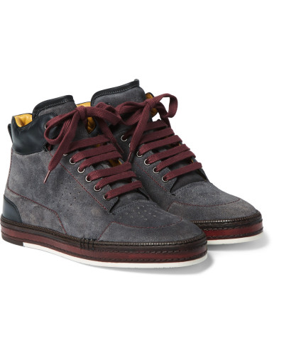 Ferro Suede And Leather High-top Sneakers
