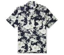 Paris Camp-Collar Piped Floral-Print Tencel and Linen-Blend Shirt