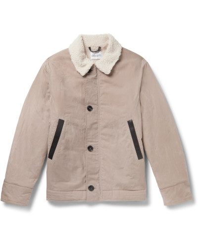 Faux Shearling-Lined Leather-Trimmed Cotton Jacket