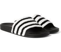 Adilette Striped Terry And Rubber Slides