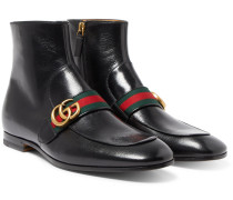 Donnie Webbing-trimmed Leather Chelsea Boots