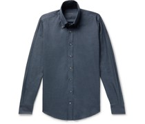 Slim-Fit Button-Down Collar Cotton-Flannel Shirt