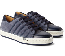 Playfield Washed-suede And Burnished-leather Sneakers