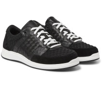 Intrecciato Leather, Suede And Embossed Jersey Sneakers