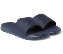 Benassi Leather And Rubber Slides