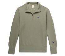 Logo-Embroidered Fleece-Back Cotton-Blend Jersey Half-Zip Sweatshirt