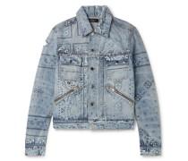 Slim-Fit Distressed Bandana-Print Denim Jacket