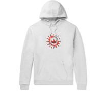 Suntint Logo-Print Mélange Fleece-Back Cotton-Blend Jersey Hoodie
