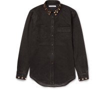 Cuban-fit Studded Stretch-denim Shirt