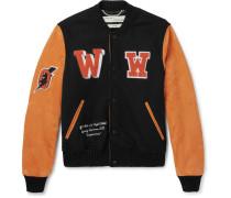 Eagle Temp Appliquéd Wool-blend Felt And Suede Bomber Jacket