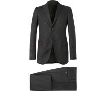 Grey Slim-fit Wool-jacquard Suit