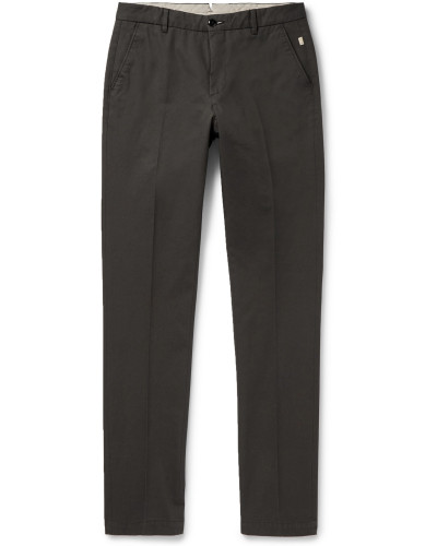 Slim-Fit Tapered Cotton-Twill Trousers