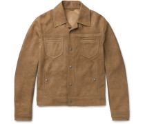 Slim-fit Intrecciato-trimmed Suede Jacket