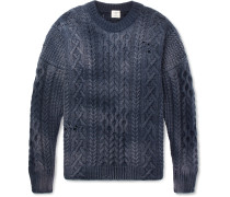 Distressed Cable-knit Wool Sweater