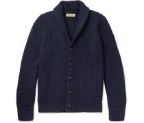 Shawl-collar Ribbed Wool And Silk-blend Cardigan