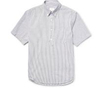 Half-placket Striped Cotton And Linen-blend Seersucker Shirt
