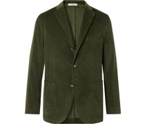 Kei Slim-Fit Unstructured Garment-Dyed Cotton-Velvet Blazer