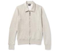 Mélange Cotton-blend Jersey Zip-up Sweatshirt