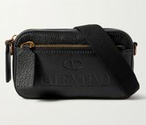 Valentino Garavani Convertible Logo-Debossed Full-Grain Leather Messenger Bag